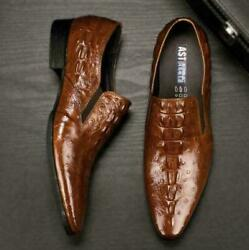 Mens Formal Alligator Real Leather Pointy Toe Slip On Business Dress Shoes 2021