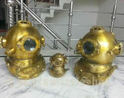 Mini And Big Diving Divers Helmet 3 Pcs Combo Offer U.s.n Mark V Iron And Brass