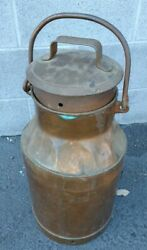 Antique Copper Plated Steel Milk Can Great Cond + Lid 23 X 11 Mv Hannover 64