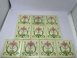Old Vintage Collectible Rare Design Ceramic Tiles Made In England 10 Pc Nh5915