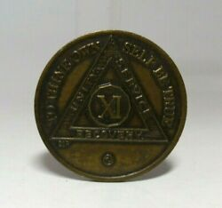 Vtg Alcoholics Anonymous 11 Year Sobriety Token Coin Aa Xi Serenity Prayer Chip