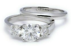 2 Tcw 3 Stones Round Cut Size 6 Moissanite Engagement Ring In 14k White Gold