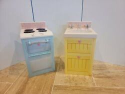 Playskool Rose Petal Cottage Stove And Sink Set Blue Yellow 2006 Pretend Play
