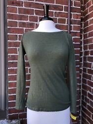 J Crew Green Long Sleeve Painters Tee Size Small