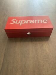 Supreme Metal Storage Lock Box Red Logo Authentic Pre Owned Fw 2011