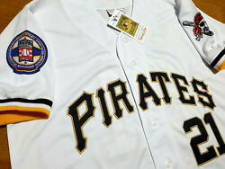 New Wtag Pittsburgh Pirates 21 Roberto Clemente Dual Patches Sewn Jersey White
