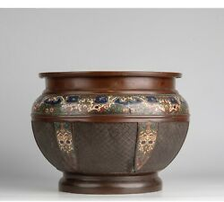 A Large Antique Japanese Bronze And Enamel Decorated Basin Planter