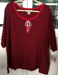 Sag Harbor Woman Plus 3x Shirt Knit Top Short Sleeve Red Navy Stripe New Tags