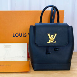 Rare Louis Vuitton Lockme Mini Backpack Bag Black And Gold And Receipt
