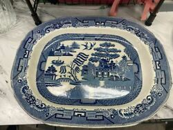 Antique Stone China Warranted Blue Willow Platter