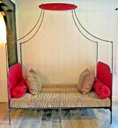 Antique Iron Day Bed Sofa Clarance House Red Damask Leopard Panthere De Somalie