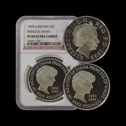 Great Britain. 1999, 5 Pounds, Silver - Ngc Pf69 - Diana Memorial Proof Rare