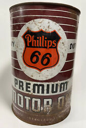 Large Old Vintage 1950s Phillips 66 Motor Oil Tin Can 5 Quart Oil Can