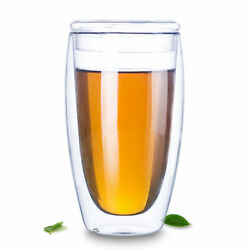 Crystal Clear Double Wall Glass Coffee Tea Juice Mug Water Cup With Lid