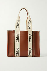 Chloandeacute Woody Medium Cotton Canvas-trimmed Leather Tote Brown New With Tag
