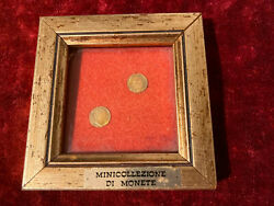 Rare Vintage 8k Lot Solid Gold Coins Wood Frame Miniature Gold Coins Kings