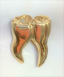 14k Yellow Gold And Diamond Tooth Brooch