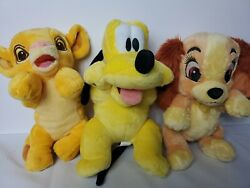 Disney Parks Babies Simba, Pluto And Lady Puppies And Cub Plush Toy Lot 3