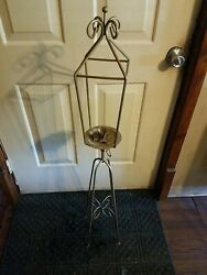 Antique Wrought Iron Floor Standing Candle Holder47 Inches Tall
