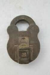 Antique Old Solid Brass Rare British Mark Pad Lock Without Key Nh3062