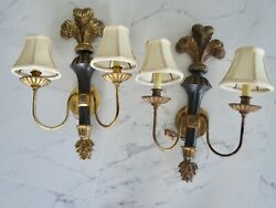 Pair Of Lamp Crafters Lexington, N.c. Gold Electric Wall Sconces With Shades