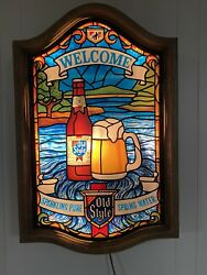 Vintage Old Style Beer Welcome Waterfall Lighted Bar Sign On Faux Stained Glass