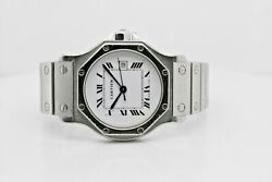 Santos Octagon 2965 Stainless Steel Case White Roman Numeral Dial 30 Mm