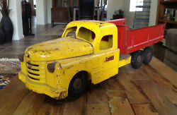 Vintage Structo Toys Tipper Dump Truck Pressed Steel Red Yellow 6 Wheel 19.5