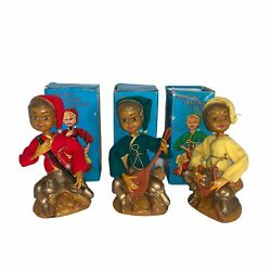 Vintage Golden Fantasy Pixie Elves And Musical Instruments Set Of 3 Christmas 60s