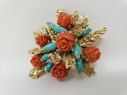Vintage 18k Yellow Gold, Turquoise And Carved Coral Roses Pin Brooch