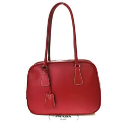 Authentic Prada Milano Tote Shoulder Hand Bag Leather Red Silver Italy 39bt199