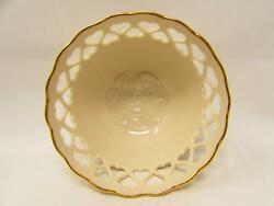 Heart Collection By Lenox 5 Footed Bowl Heart-pierced Cream Giftware Gold Trim