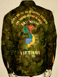 Vintage Embroidered Military Vietnam Quilted Camo Jacket 1969