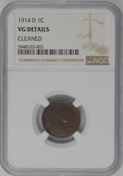 1914-d U.s. 1¢ - Lincoln Wheat Cent - Ngc Vg Details Cleaned