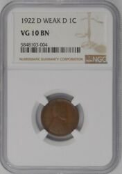 1922-d Weak D U.s. 1andcent - Lincoln Wheat Cent - Ngc Vg10bn
