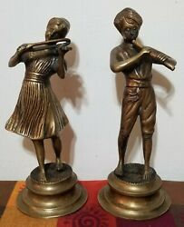 Vintage Pair Brass Statue Figurines Girl Playing Violin Boy Playing Flute