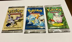 Cards Pokemon 3 Packs Sealed New First Series Jungle, Fossil Artwork