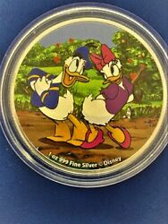 2021 Niue Disney Donald And Daisy - 1 Ounce Pure Silver .999 Coin Great Colors