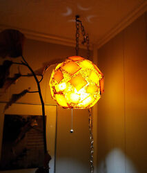 Mid Century Chunky Rock Candy Lucite Swag Hanging Lamp