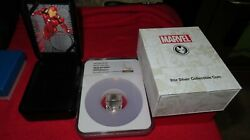 2019 Antique Fiji Marvel Avengers Iron Man Mask Domed 2oz Silver Coin Ngc Ms69