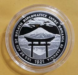 Romanian 10 Lei Silver Coin - 100 Years Of Diplomatic Relations Romania- Japan