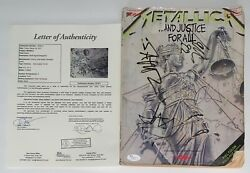Metallica X4 James Lars Kirk And Jason Signed And Justice For All Guitar Book Jsa