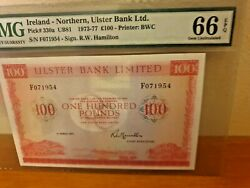 Gem Unc 66epq 100 Pounds Ulster Bank Ireland - Northern Andpound100 Ub81 1977 P-330a