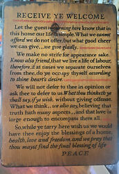 """Vintage Yorkraft Pa """"receive Ye Welcome"""" Wooden Wall Sign Plaque 12.5""""x 9"""""""