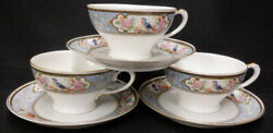 3 Royal Bavarian Bird Of Paradise Tea Cups And Saucers Hutschenreuther Bavaria