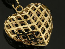 P037 Genuine 9k Or 18k Solid Gold Large And Puffy Filigree Caged Heart Pendant