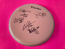 Ac/dc X6 Entire Band Signed Autographed Drumhead Exact Proof