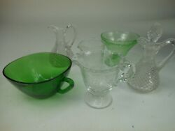 Lot Of Depression Elegant Glass Cruet Forest Green Etched Floral Clear