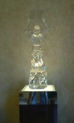 Rare Vintage Signed Murano Glass Sculpture Of Moses With Lighted Stand