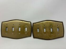 Vintage Solid Brass 4-way Light Switch Cover Plates Rope Edging Set Of 2
